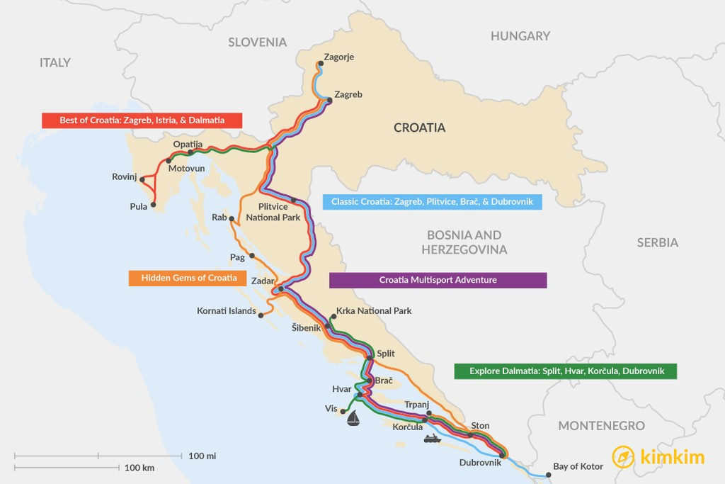 Map of 13 Days in Croatia - 5 Unique Itinerary Ideas