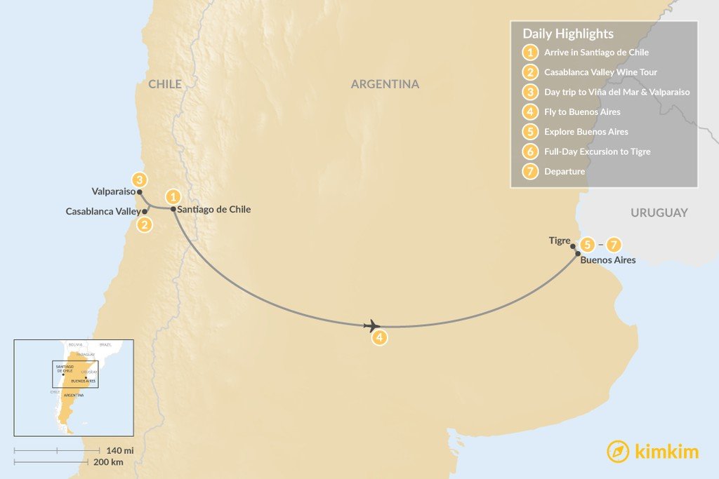 Map of Santiago, Buenos Aires, and Beyond - 7 Days