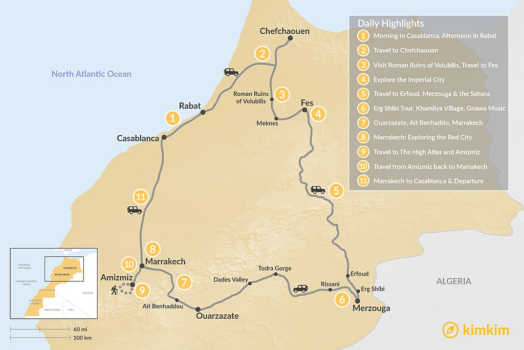 Map of Imperial Cities, Desert Adventures & Atlas Hiking - 11 Days