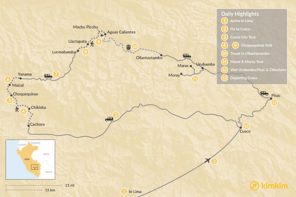 Map of  Choquequirao Trek & Sacred Valley Adventure - 13 Days