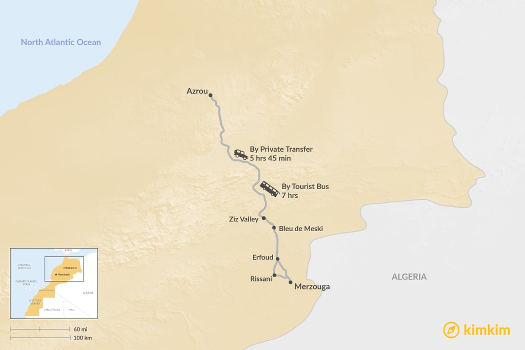 Map of How to Get from Azrou to Merzouga