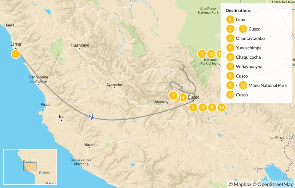 Map of Inca Trail & Amazon Adventure - 14 Days