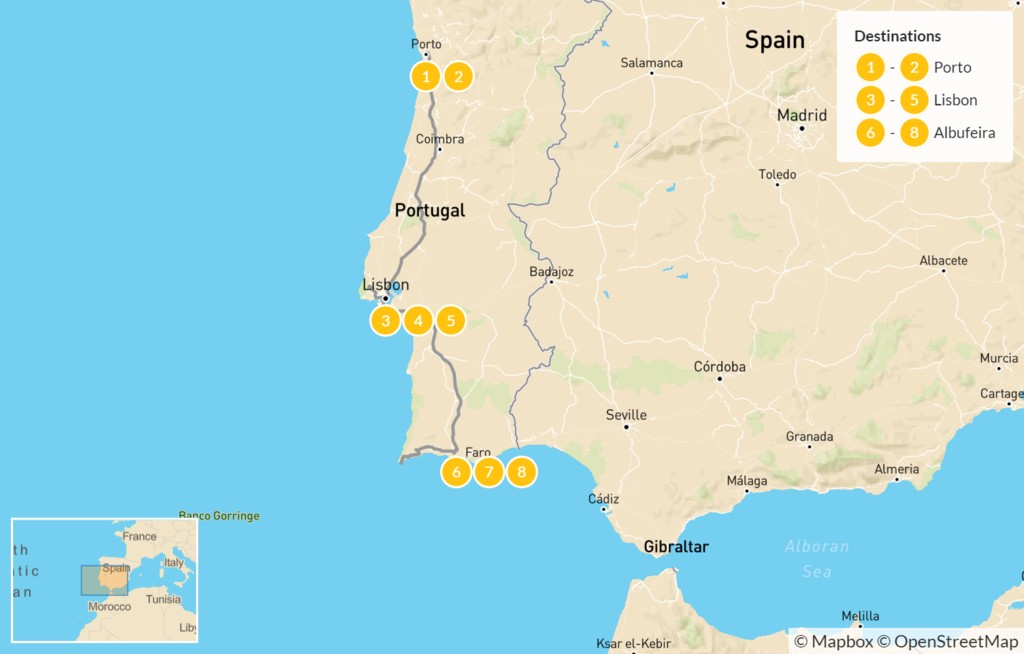 Map of Best of Portugal from Porto to Albufeira - 9 days