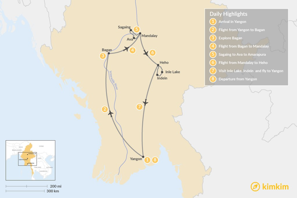 Map of Magnificent Myanmar - 8 Days