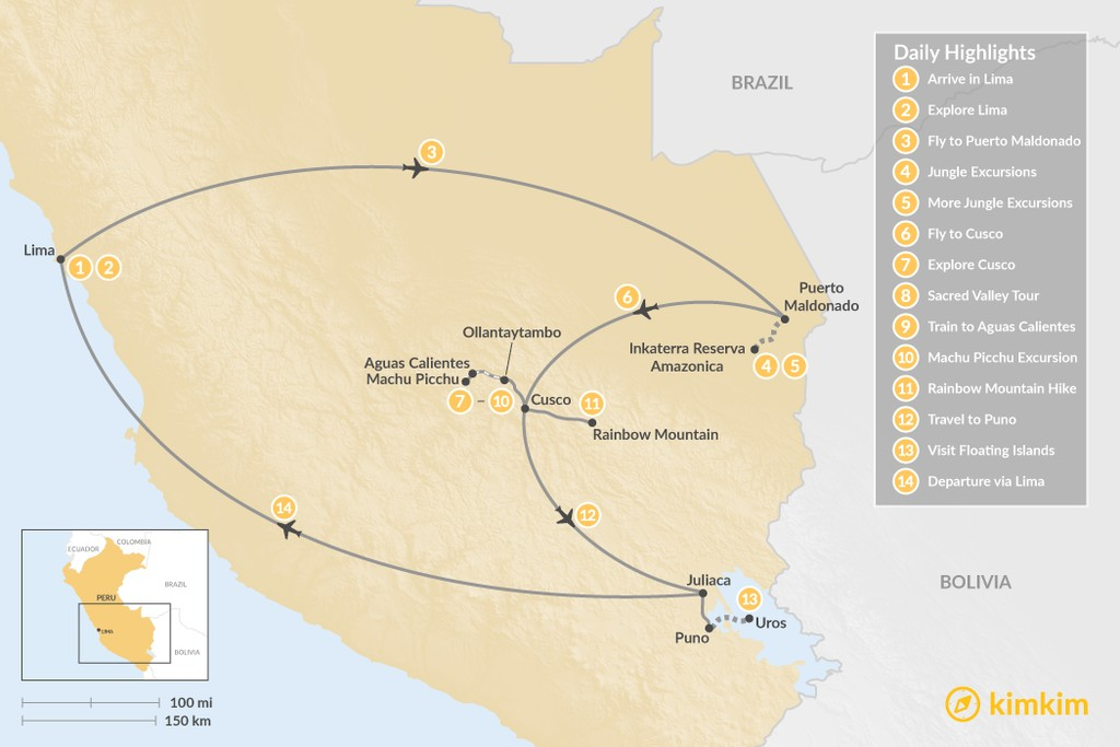Map of Peru Highlights & Jungle Adventure - 14 Days