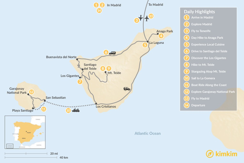 Map of Explore Madrid and the Canary Islands: Tenerife and La Gomera - 14 Days