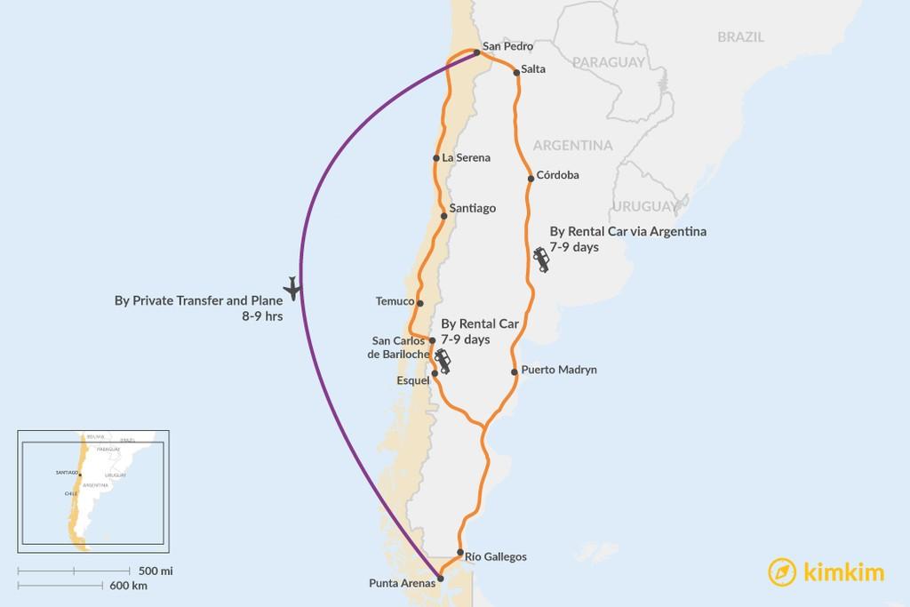 Map of How to Get from San Pedro de Atacama to Punta Arenas