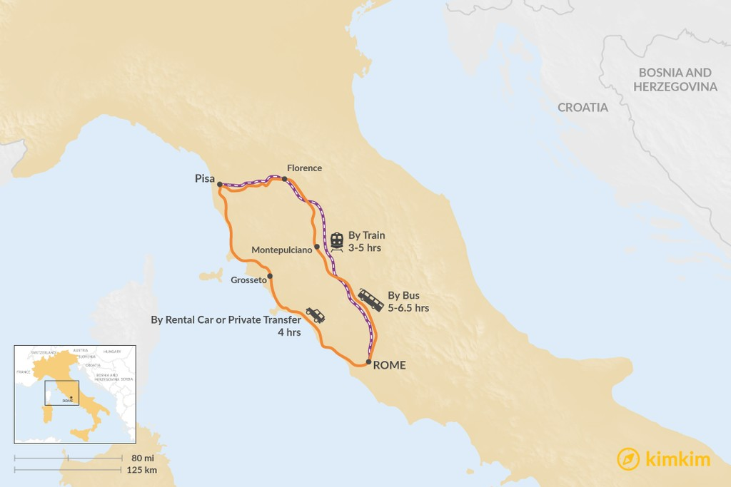 Map of How to Get from Rome to Pisa