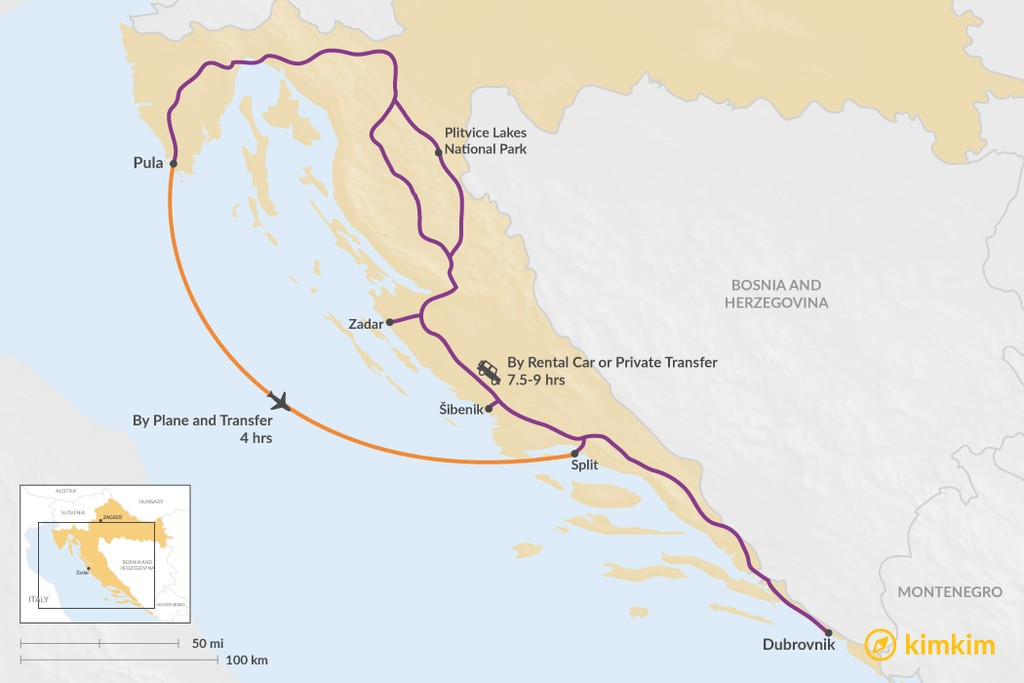 Map of How to Get from Istria to Dubrovnik
