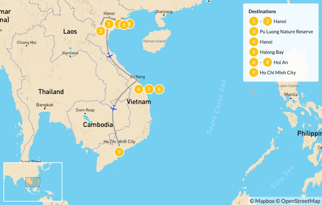 Map of Impressions of Vietnam: Hanoi, Ha Long Bay, Hoi An, & More - 10 Days