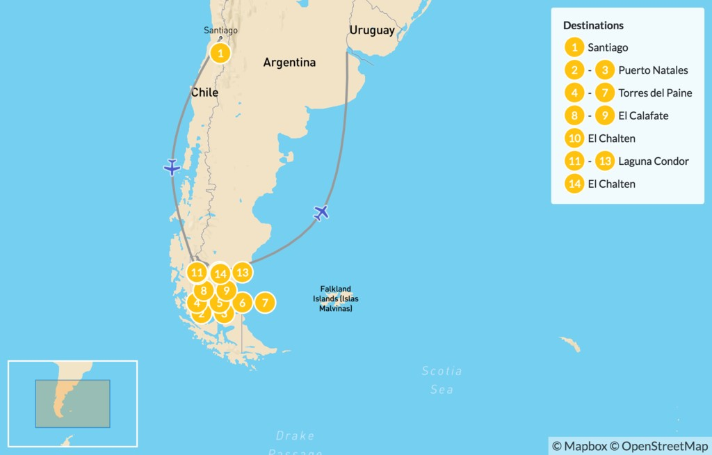 Map of Patagonia Adventure for Couples - 15 Days