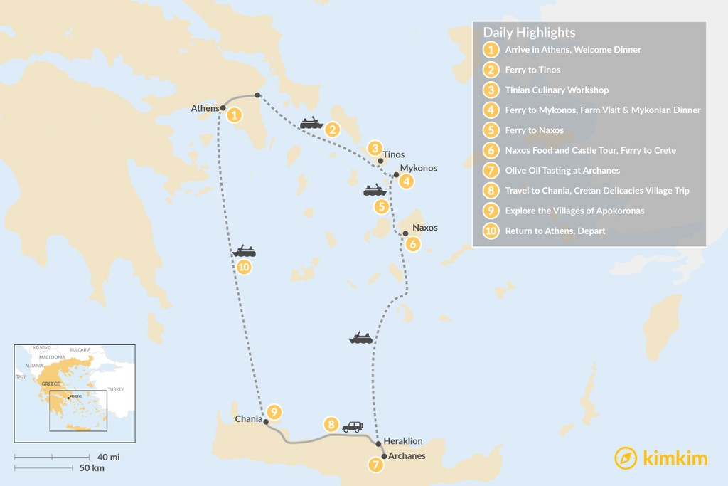 Map of Cyclades & Crete Culinary History Tour - 10 Days