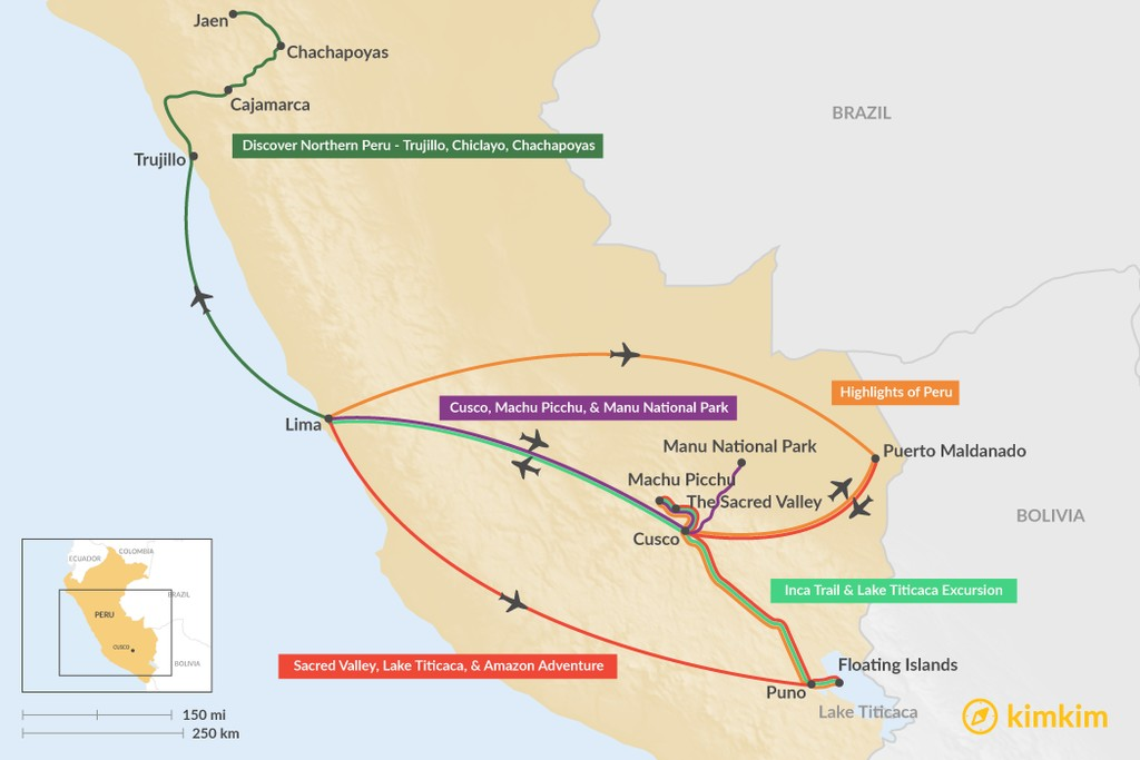 Map of 10 Days in Peru - 5 Unique Itinerary Ideas