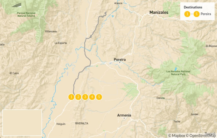 Map of Coffee & Culture: Explore Colombia's Zona Cafetera - 6 Days