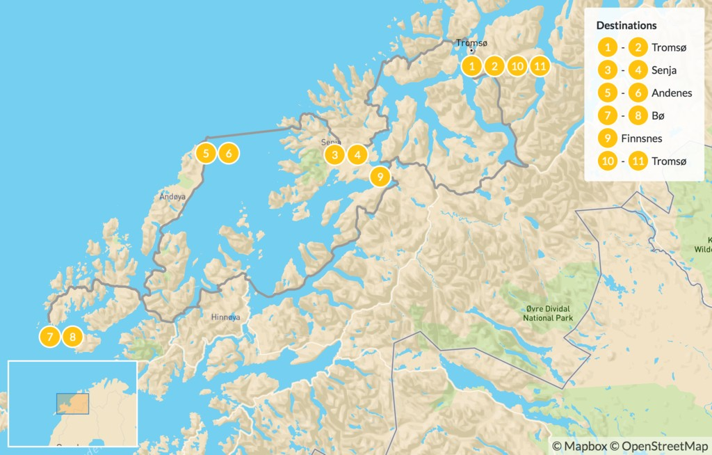 Map of Arctic Norway Summer Road Trip - 12 Days