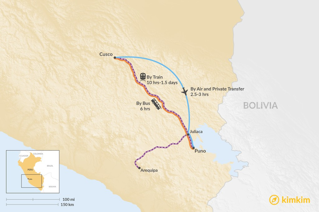 Map of How to Get from Cusco to Puno