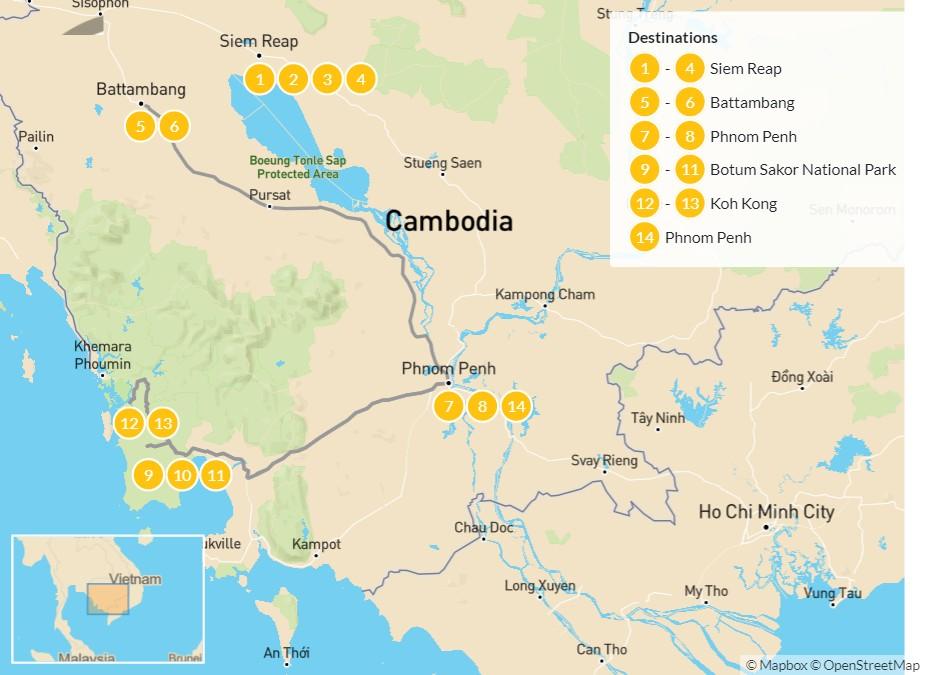 Map of Culture & Nature of Cambodia: Siem Reap, Battambang, Phnom Penh, Cardamom Mountains & More - 15 Days