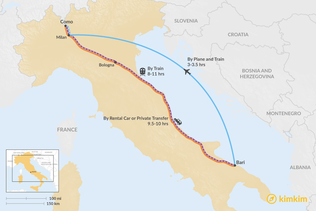 Map of How to Get from Puglia to the Lakes District