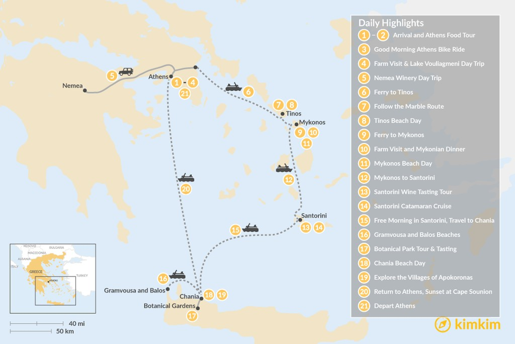 Map of Laidback Athens, Tinos, Mykonos, Santorini, and Crete - 21 Days