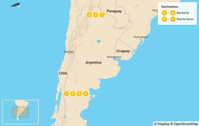 Map of Culinary Tour of Patagonia's Lake District - 7 Days