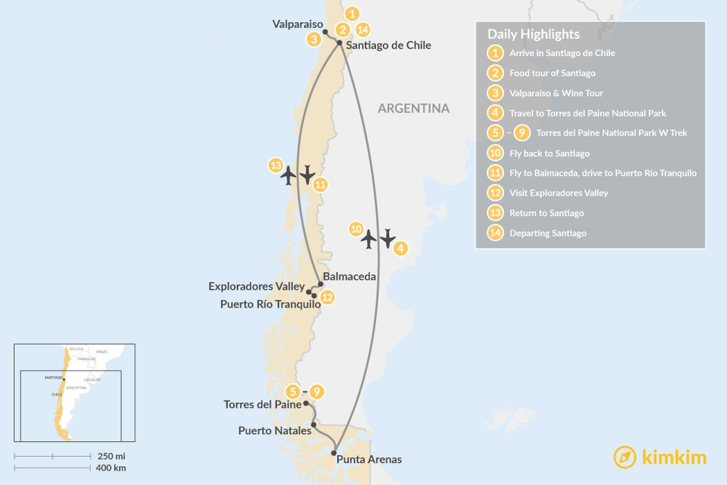Map of W Trek & Central Chile Adventure - 14 Days