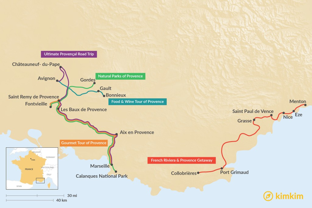 Map of 5 Days in Provence - 5 Unique Itinerary Ideas