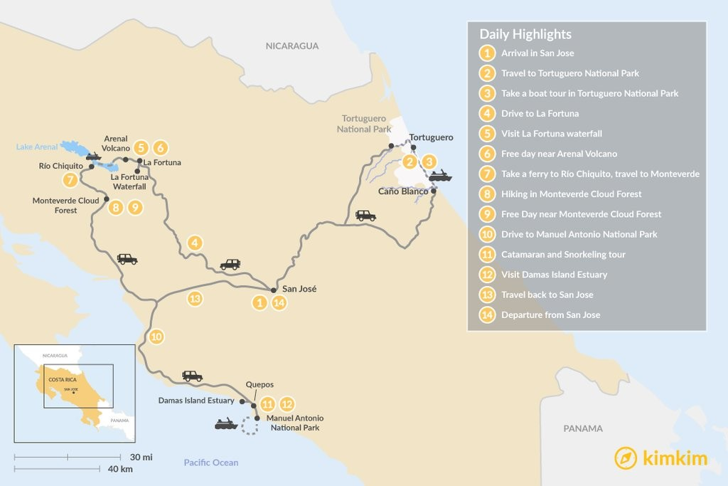 Map of Costa Rica National Parks Adventure - 14 Days