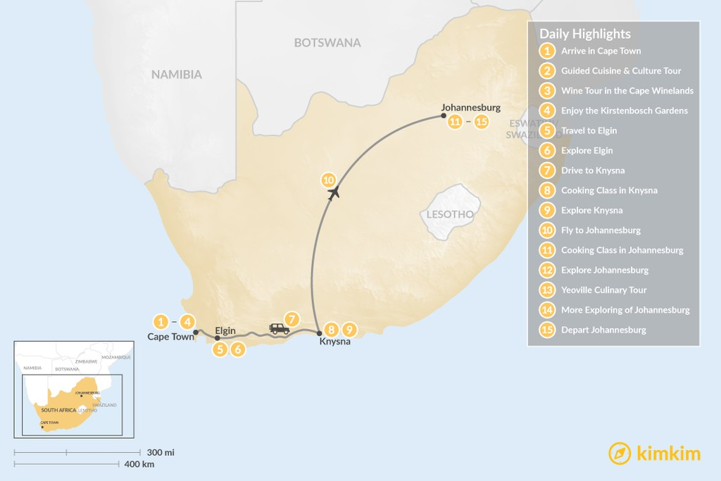 Map of South Africa Food & Wine Tour: Cape Town, Garden Route, & Johannesburg - 15 Days