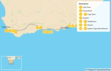Map thumbnail of South Africa Road Trip: Cape Town, Winelands, Garden Route, & Eastern Cape Safari - 14 Days