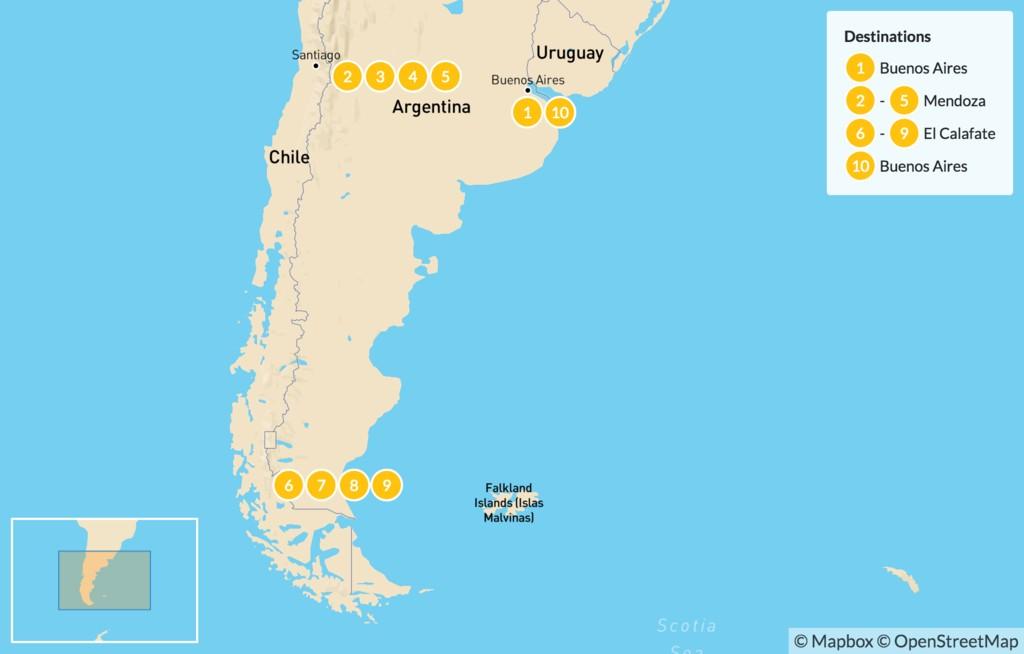 Map of Classic Argentina: Mendoza & Patagonia - 11 Days