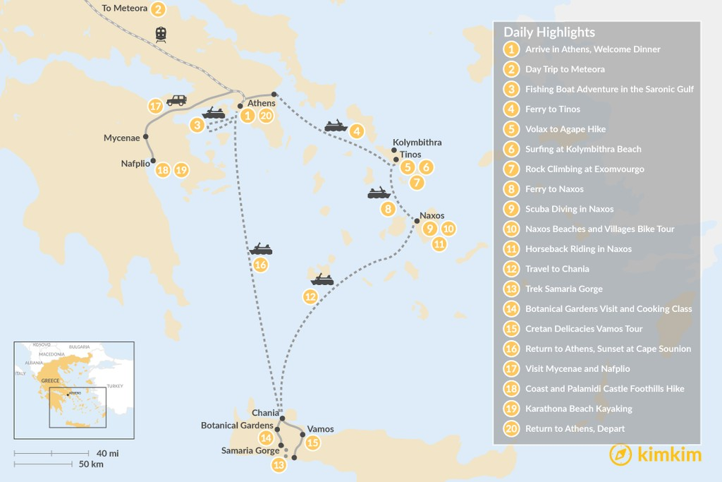 Map of Active Athens, Mainland Greece, Cyclades, and Crete - 20 Days