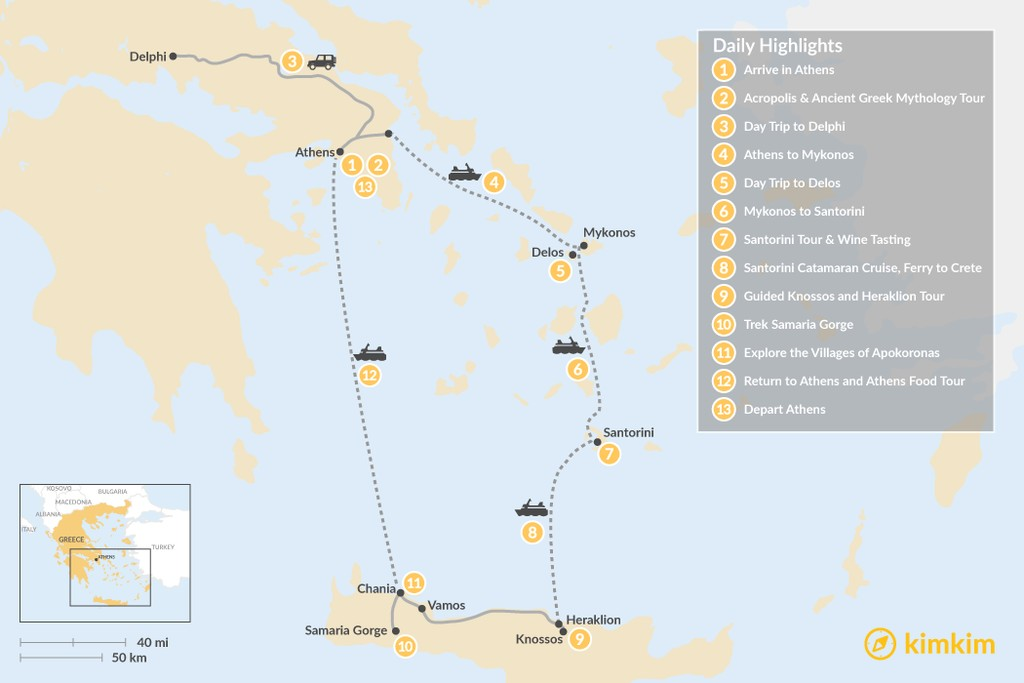 Map of Discover Athens, Mykonos, Santorini, and Crete - 13 Days