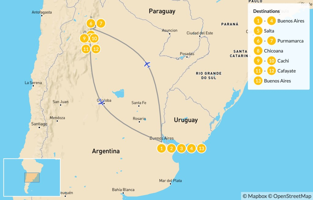 Map of Explore Northern Argentina - 14 Days