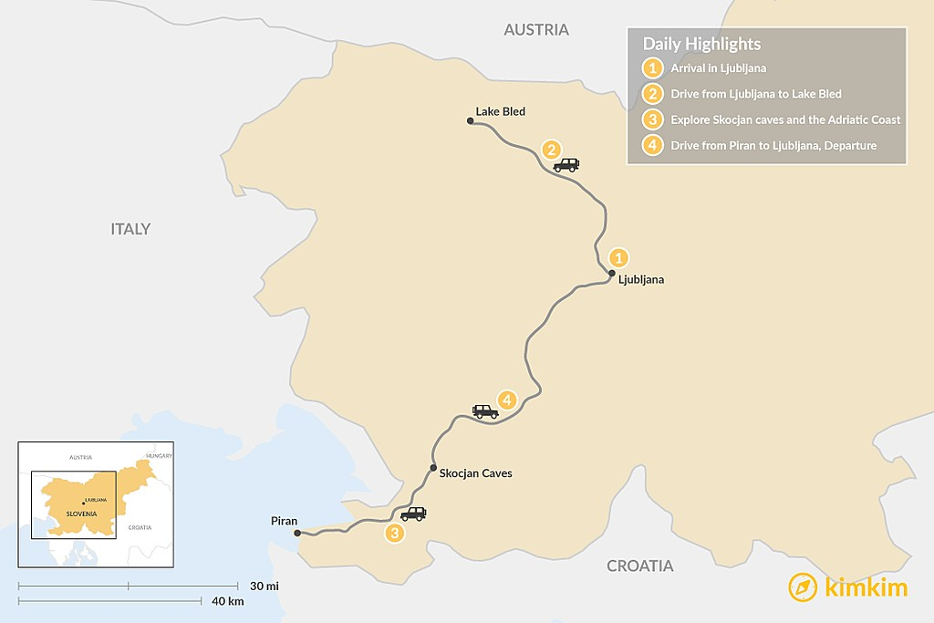 Map of Highlights of Slovenia - 4 Days