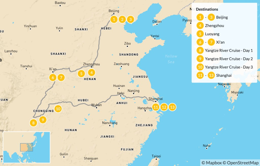 Map of China's Ancient Capitals & Yangtze River Cruise - 14 Days
