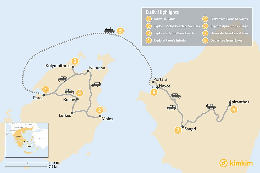 Map of Off the Beaten Path in the Cyclades: Paros & Naxos - 8 Days