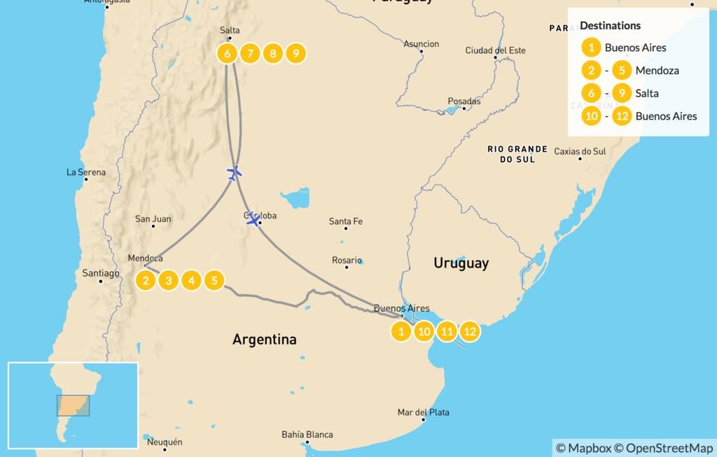 Map of Classic Argentina: Buenos Aires, Mendoza, & Salta - 13 Days