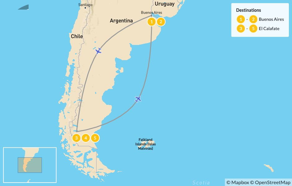 Map of Buenos Aires & El Calafate Exploration - 6 Days
