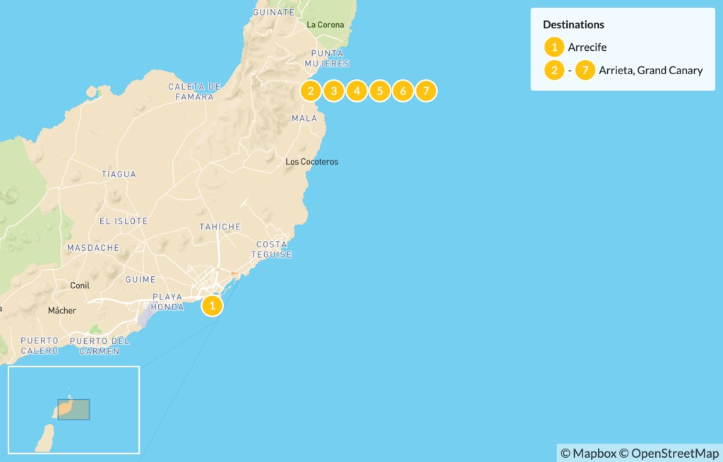 Map of Adventure in Lanzarote - 8 Days