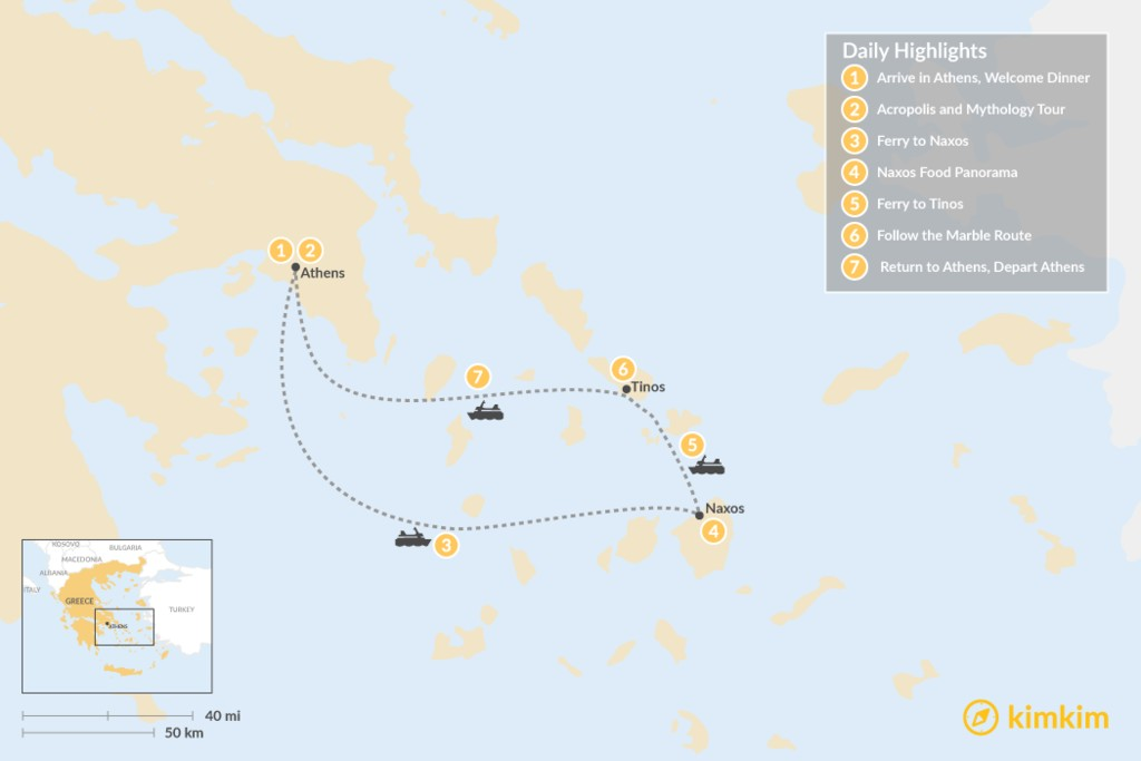 Map of Past and Present in Athens, Tinos & Naxos - 7 Days