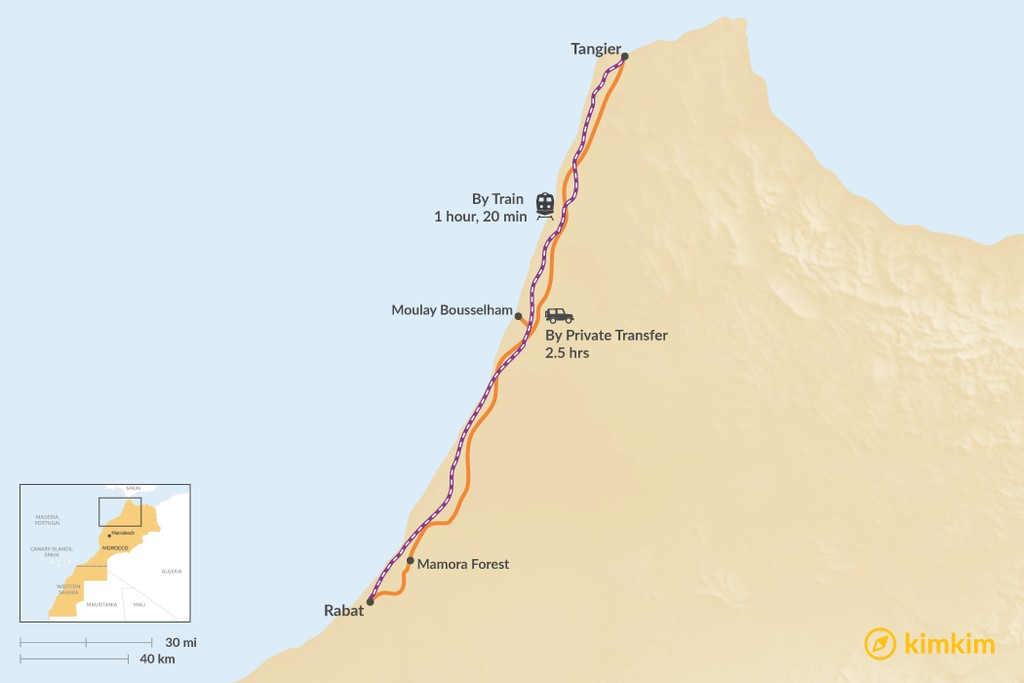 Map of How to Get from Rabat to Tangier