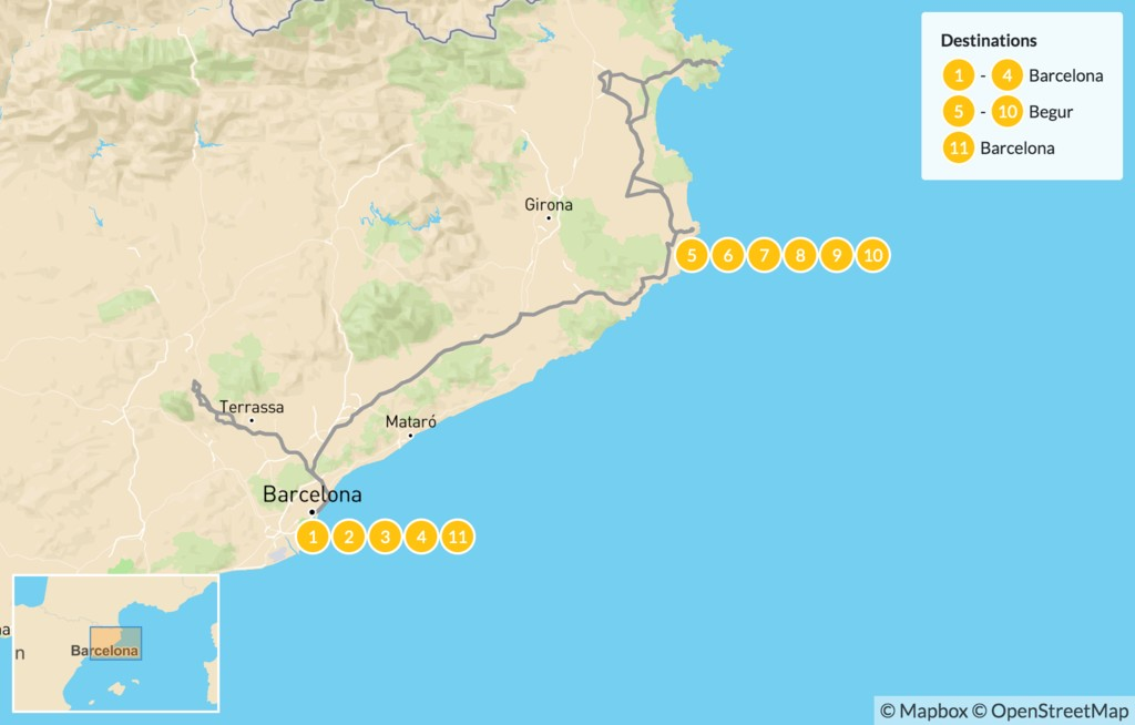 Map of Barcelona & the Costa Brava - 12 Days