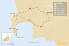 Map thumbnail of South Africa Family Adventure: Cape Town, Winelands, & More - 6 Days