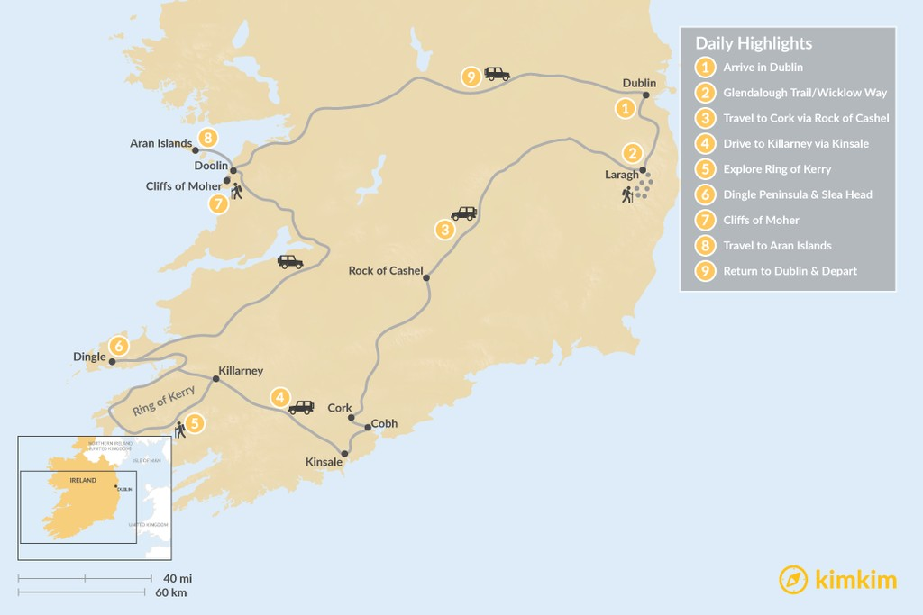 Map of Ireland Self-Drive & Hiking Highlights - 9 Days