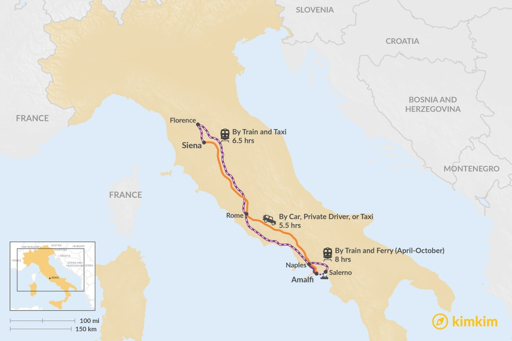 Map of How to Get from Siena to Amalfi