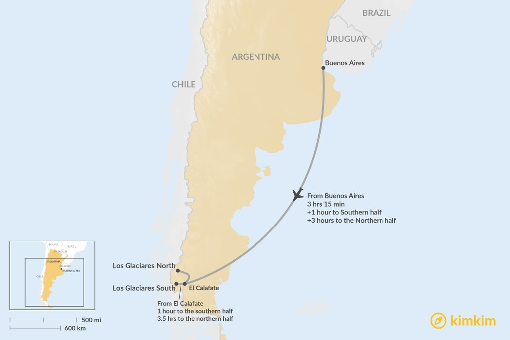Map of How to Get to Los Glaciares National Park