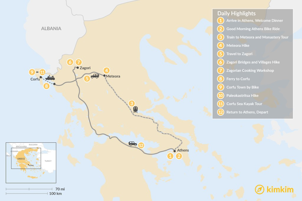 Map of Adventurous Athens, Central Greece, and Corfu - 12 Days