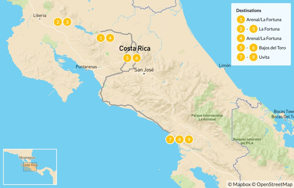 Map of Costa Rica: Luxury Wildlife Safari and Multi-Sport Adventure - 10 Days