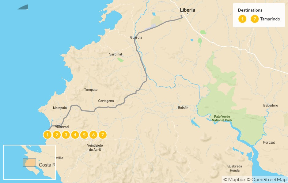 Map of Discover Costa Rica: Highlights of Guanacaste - 8 Days