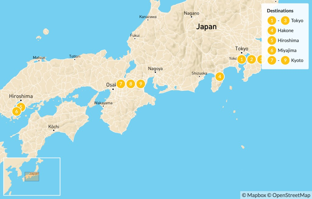 Map of Explore the Golden Route of Japan - 12 Days